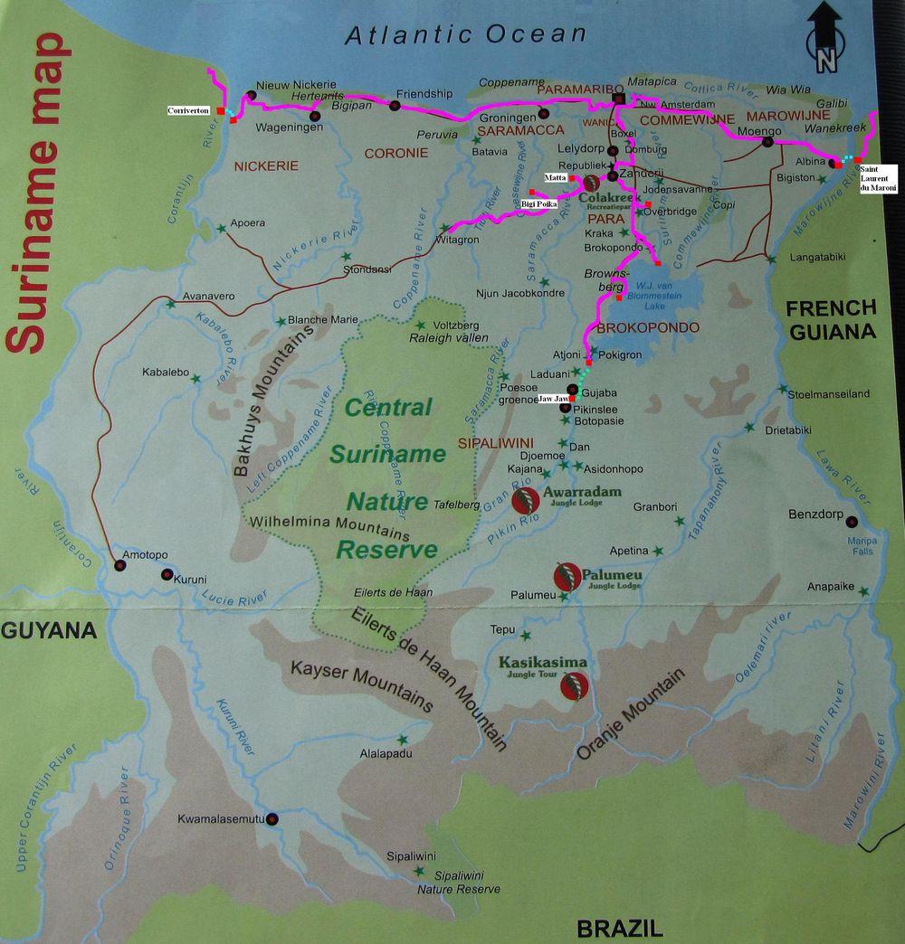 surinam-mapa